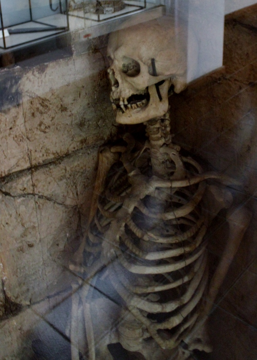 This female skeleton was found in 1933 inside a ruined tower in a palazzo in Poggio Catino. There are a few theories as to who she is. One theory is that she was taken as a hostage by the Orsini family in the 16th century. Another is that she was the unfaithful wife of Geppo Colonna who chained her in the cell and left her to starve for making him a cuckold.