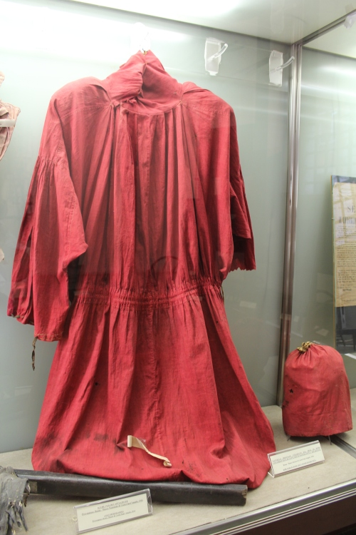 This was the official robe of the executioner Giovanni Battista Bugatti AKA Mastro Titta. He was the official Papal executioner from 1796 to 1865 and carried out over 500 executions. Charles Dickens wrote about witnessing Bugatti  executing a criminal in the book 'Pictures from Italy'