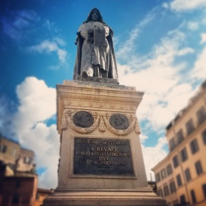 The Statue of Giordano Bruno that stands on the site where he was executed in February 1600