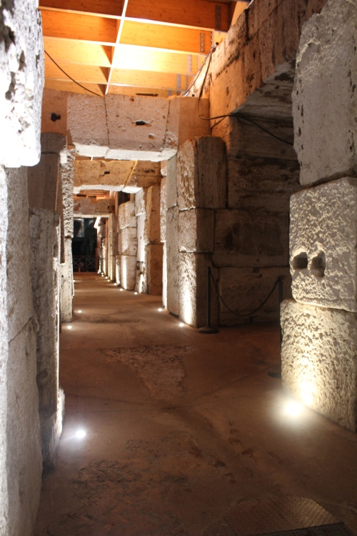 Down in the hypogeum, below the arena. Gabriele confirmed my suspicion that the Romans would not have bothered facing these behind-the-scenes surfaces. So these blocks are exactly as gladiators saw and touched them.