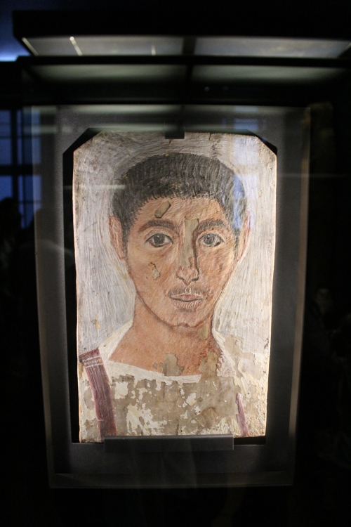 A Fayum mummy portrait. I'm always excited to see these and this one is particularly lovely. The Fayum mummy portaits are from Roman occupied Egypt. This one dates from about 220-250AD.