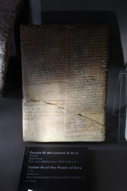 This is a clay fragment of the epic Poem of Erra. Erra was a Babylonian god of mayhem and pestilence. They myth in the poem dates from the 8th century BC