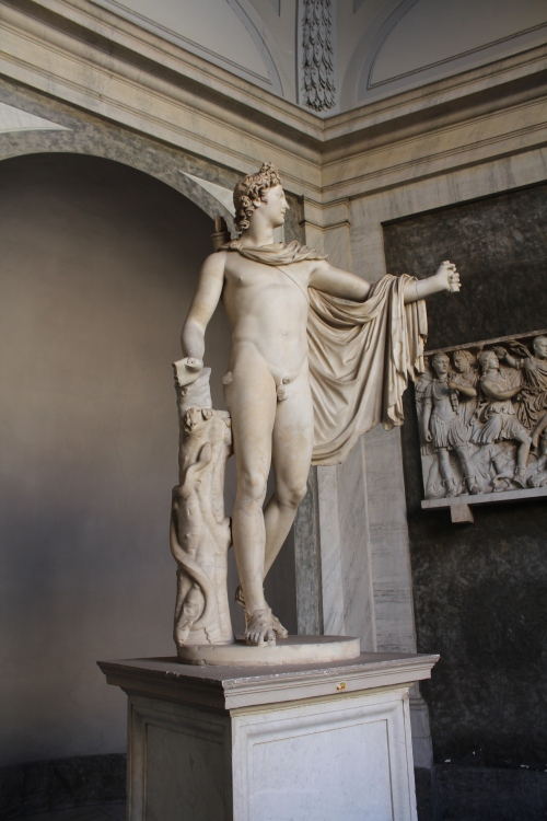 The Belvedere Apollo An early 2ndC AD marble copy of a bronze Greek original by Leochares circa 340 BC  Napoleon once nicked this and took it to the Louvre, only to be returned to the Vatican in 1815.