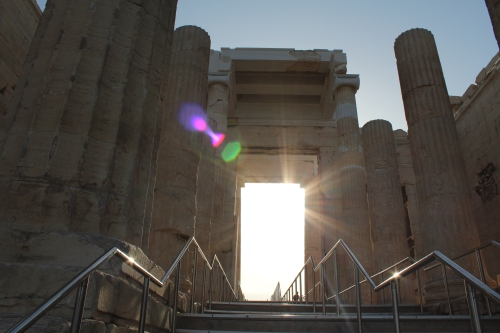 Sunrise through the Propylaea