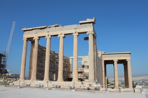 The Erechtheion - this entrance led to the eastern part of the temple that was dedicated to Athena Polias, protectress of the city. It housed the cult statue carved of olive wood that received a new set of clothes each Panathenaic Festival.