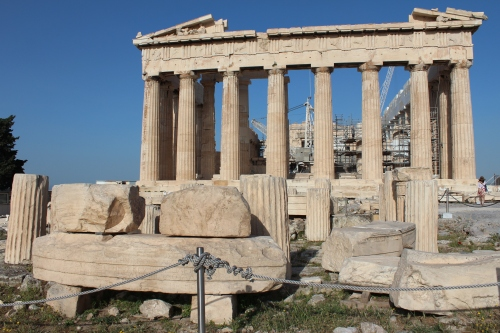 The circular remains of the Temple of Rome and Augustus stood at the eastern end of the Parthenon, completed in the 1stC BC.