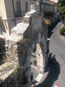 My hotel balcony, directly above the Porta Messina