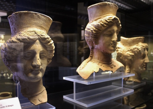 Three large late 5thC BC busts of three females divinities, found at Agrigento