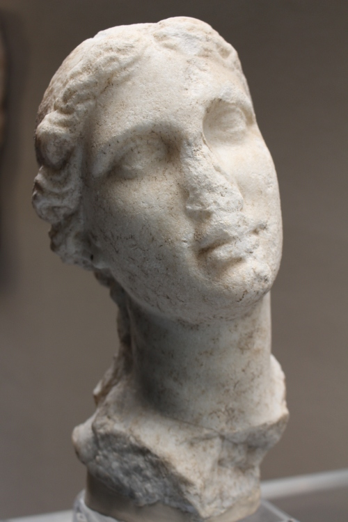 late 3rdC BC marble female head found in the Neapolis (mainland) area of Syracuse