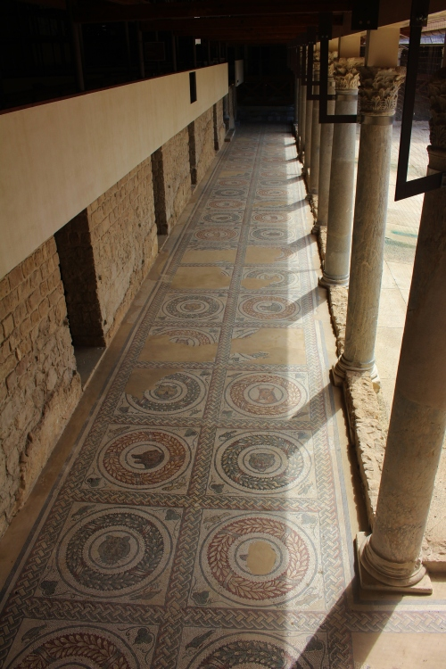 The highly decorated floors of the porticoes around the peristyle
