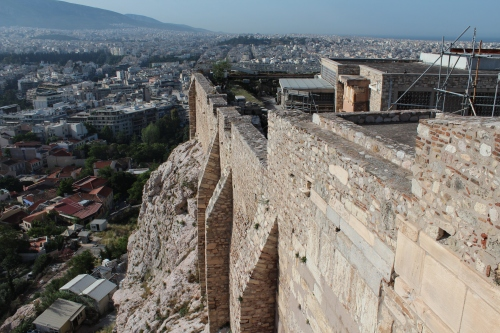The massive fortification walls of the Acropolis